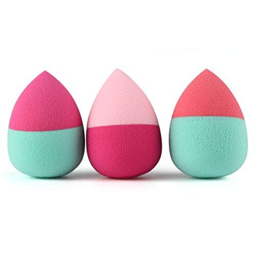 Gracelaza 3 pièces Blender Éponge de Maquillage - Pour appliquer base, fond de teint, correcteur - Poudre libre sans latex, hypoallergénique et sans odeur