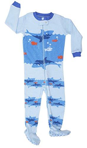 elowel   Schlafanzug   Babys - Kinder   Jungen   Einteiler   Strampler   Design Pyjama   Enganliegend   100% Baumwolle   Bequem   Größe: 5 Jahre (110)   Design: Hai   Farbe: Blau -