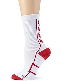 Hummel Niños Calcetines Tech Indoor Sock Low, Todo el año, Infantil, Color Blanco - White/True Red, tamaño 8