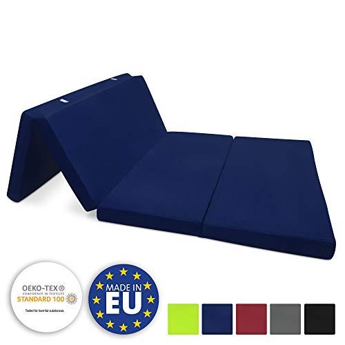 Beautissu Materassino Campeggio futon Pieghevole Ospiti Campix 120x195cm soffice Confortevole e Funzionale - Blu