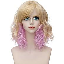 Aicos Priomix resistente al calor 35 cm corto rizado dorado Ombre rosa peluca con flequillo disfraz