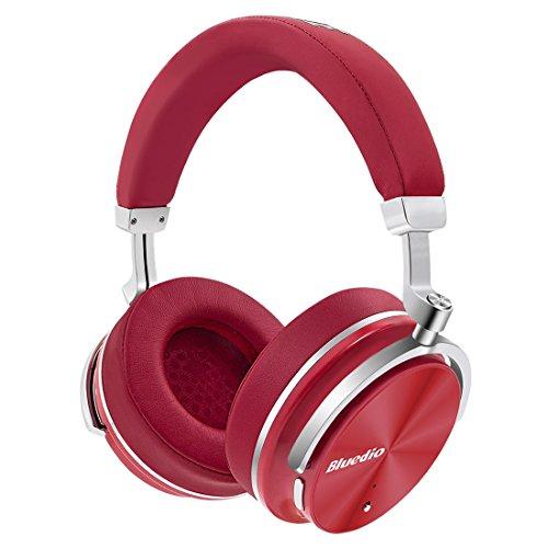 Bluedio T4 (Turbine) Auriculares Bluetooth Giratorios con cancelación activa de ruido y micrófono (Rojo)
