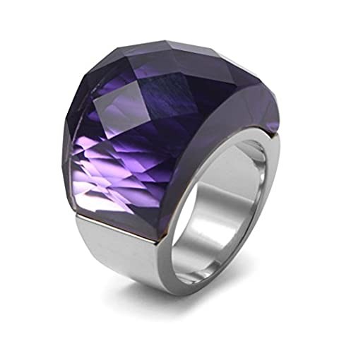 Vnox Femmes en acier inoxydable violet Super Sized Crystal Wedding Wedding Promise Engagement,Base argentée