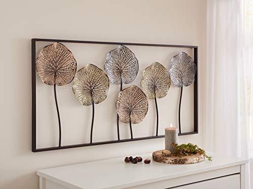 """3D Wandbild\""""Lotus\"""" aus Metall, 100x50 cm, Wandschmuck, Wandbild, Wandverzierung, Deko-Objekt"""