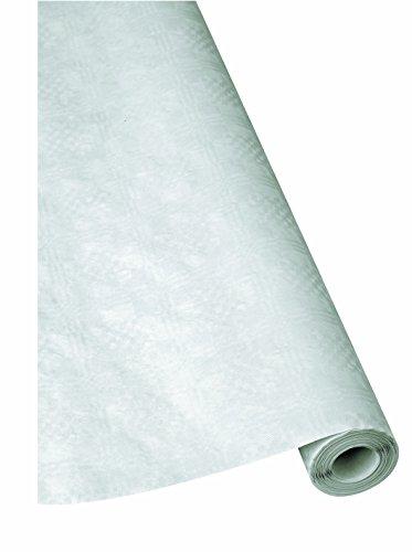 1 Rolle Damast - Tischtuch weiß 1 m x 50 m Papiertischdecke Tischdecke, Papiertischtuch,...