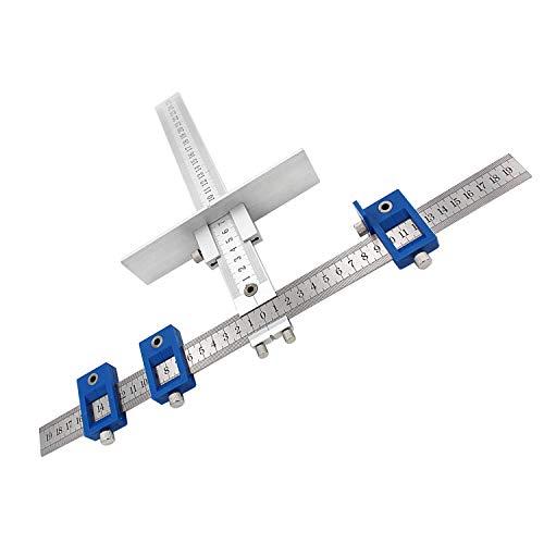 Punch Locator Bohrlehre, Zoll Und Metrisch 2 In 1 Abnehmbare Einstellbare Lineal Bohrlehre Für 5Mm Bohrer Elektrowerkzeug,Metric