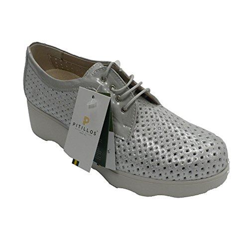 Zapato Deportivo Mujer Calado con Cordones Plateado Pitillos en Metalizado Talla 37