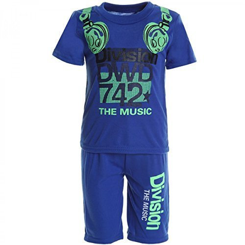 BEZLIT Kinder Jungen Freizeit Kurzarm Jogging Shirt Hose Outfit 2tl Set Kleidung 20484, Farbe:Blau;Größe:104