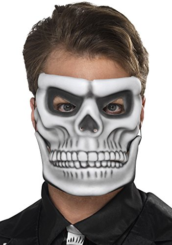 Smiffys, Herren Tag der Toten Skelett Gesichtsmaske mit beweglichem Kiefer, One Size, Weiß, 44919