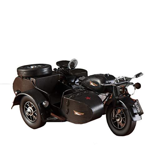 JIJIHAO gongyipin Schmiedeeisen Kampf Dreirädriges Motorrad Modell Ornamente Skulptur Wohnzimmer Schlafzimmer Veranda Hotel Lobby Coffee Shop Dekorationen (Farbe : SCHWARZ)