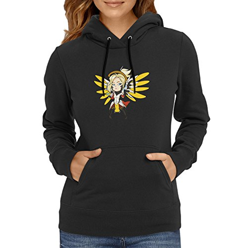 TEXLAB Angel Wings - Damen Kapuzenpullover, Größe S, schwarz