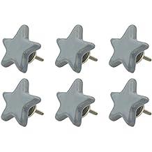 6x Perillas De Muebles gris R8-833 star grey K16