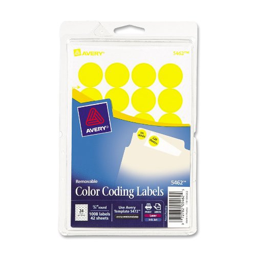 Print or Write Removable Color-Coding Labels, 3/4in dia, Yellow, 1008/Pack, Sold as 1 Package
