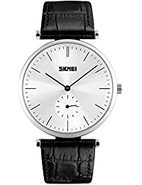 Naivo Men's Quartz Stainless Steel and Leather Watch, Color:Black (Model: NAIVO-WATCH-1163)
