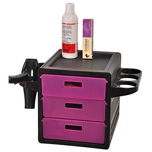 FMEZY Friseurwagen Salonbeautybarber Hairperm Werkzeugwagen mit Fönhalter und 3 Schubladen (Warenkorb Braun Schubladen 3)