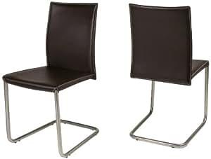 AC Design Furniture 45762 Emma Lot de 2 chaises Cantilever 100 % cuir régénéré avec surpiqûres Marron/crème