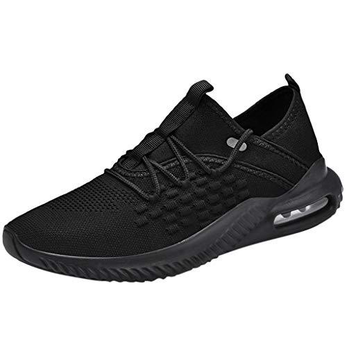 fazry Mode Hommes De Plein air Engrener Décontractée des Sports des Chaussures Fonctionnement Respirant des Chaussures Baskets(44 EU,Noir