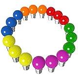 Lot de 18 ampoules Led B22 1W Guirlande Rouge, Jaune, Verte, Orange, Rose, Bleu Incassable (équivalence 15W)