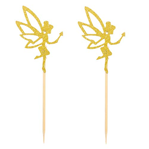 Amosfun 10pcs Lovely Little Angel Pattern Cake Toppers Glittering Cake Picks Cupcake Decor Party Supplies for Wedding Birthday Festival (CP-919) (Golden)