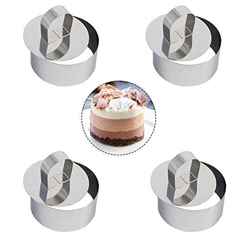 4 X DA. WA en acier inoxydable DIY Petit Rond à mousse Lamy à fromage Moule à gâteau Nourriture Moule Outil