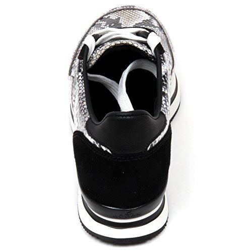 D0282 sneaker donna HOGAN H222 scarpa H forata nero/ghiaccio shoe woman nero/ghiaccio