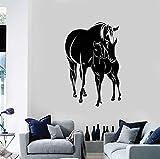 Cchpfcc Pferde Fohlen Tiere Familie Vinyl Wandtattoo Aufkleber Wohnkultur Wohnzimmer Kunstwand Tapete 57 * 86 Cm