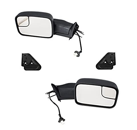 Aftermarket Auto Parts Full Size Pickup Truck Power Folding Heated Tow Rear View Mirror Pair Set for 1998-2001 Dodge Ram 1500 & 1998-2002 Ram 2500, 3500, Black by Hexautoparts