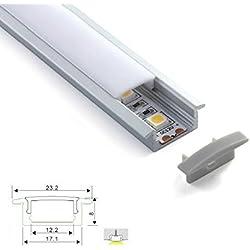 Perfil de aluminio 2507 plano 1m para tiras Led tapa blanca