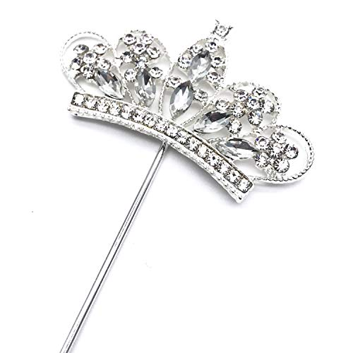 Words of Sparkles Kronen-Tiara Geburtstag Cupcake Topper Prinzessin Motto Party Dekoration Glitzer in Silber Diamant Diamant Strass ()