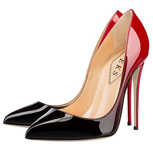 EKS Damen Gradient&Print Spitze Lackleder Kleid-Partei Hochzeit Pumps Rot&schwarz-12cm