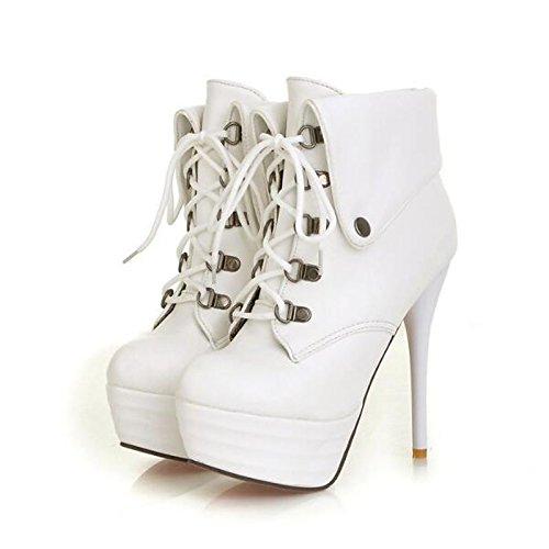 Chaussures Pour Femmes Pu Printemps Automne Bottes De Combat Confort Bottes Pour Marron Décontracté Blanc Noir, Marron, Us7.5 / Eu38 / Uk5.5 / Cn38 Marron