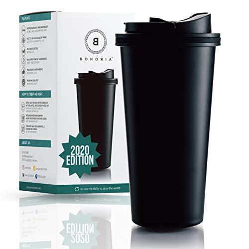 BOHORIA® Premium Edelstahl Kaffee-to-Go-Becher 2020 Edition   Thermo-Becher   Isolierbecher - Vakuumisoliert - 500 ml   Reise-Becher für Kaffee - Autobecher Travel Mug (Classic Black)