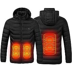 Chaqueta con Calefacción,Chaqueta Eléctrica Con Calefacción Ropa Calentada Para Hombre y Mujer con Carga USB Invierno Abrigo cálido térmica para Ciclismo para Camping Senderismo Esquí Pesca (Negro, L)