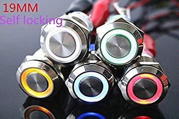 Sellify 19 mm interruptor botón metal luz, cerradura