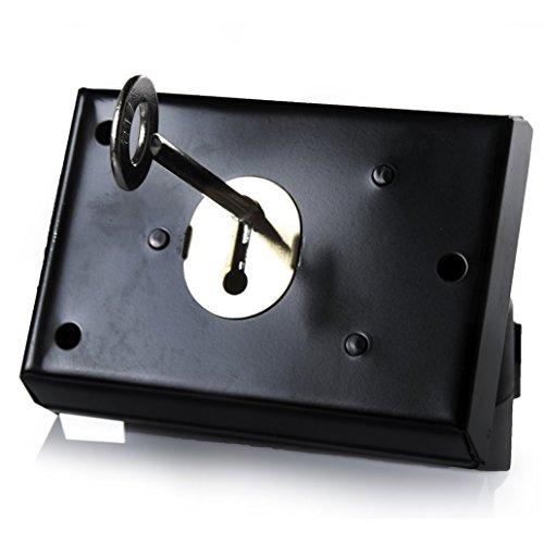 Serratura tradizionale 15,2 cm x 10,2 cm, superficie montata, serratura integrata con maniglia e serratura a chiave, ideale per porte o cancelli di legno su edifici esterni, colore: nero