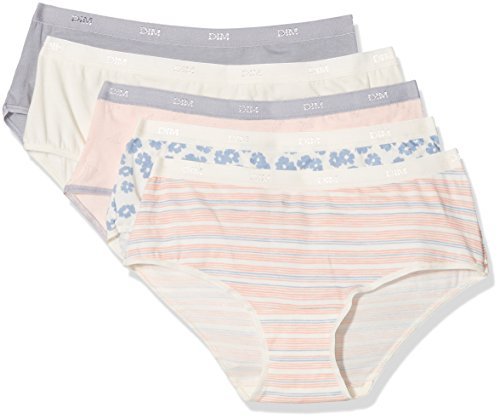 Dim Damen Boxershorts Trousse boxer pocket coton x5 Multicolore (Lot Beige Sweet Bleu Summer)