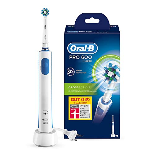 elektrische zahnbuerste zahnzwischenraeume Oral-B Pro 600 Elektrische Zahnbürste, mit Timer und CrossAction Aufsteckbürste, weiß