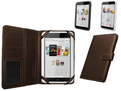 Buch Nook Cover (Navitech echte braunes 7 Zoll bycast Leder flip Trage Case / Cover im Buch Stil für das Nook HD 7 Zoll ereader Tablet)