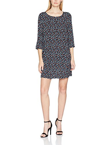 Hilfiger Denim Damen Kleid Thdw Aline Print Dress 3/4 Slv 17, Grün (Dark Leaf Print/Total Eclipse 902), 10 (Herstellergröße: Medium) (Denim-maxi-kleid)