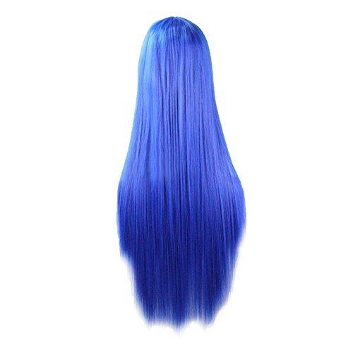 Perruque - TOOGOO(R)Anime longue perruque cheveux raides Cosplay longue Costume Hetero, Bleu