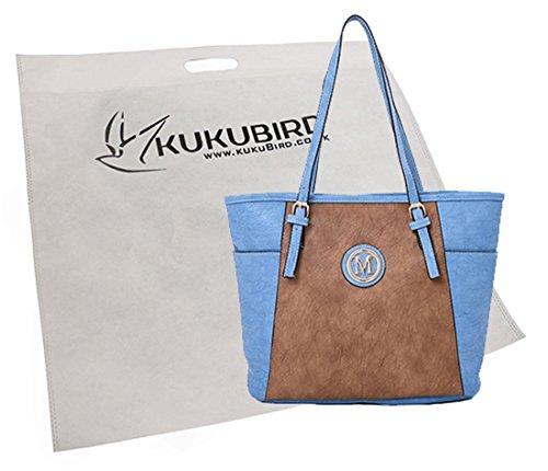 Su Malia Contrasto Pannello Design Tote Bag Con Sacchetto Raccoglipolvere Su Black