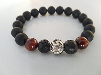 Bracelet homme, onyx noir, pierre de lave, oeil de tigre rouge, perle Maori