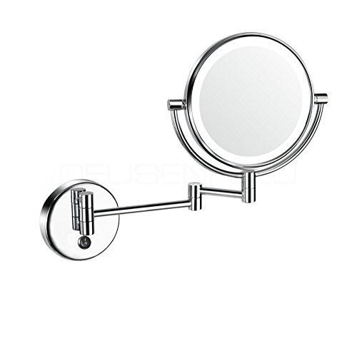 DEUSENFELD WLED72A - AKKU LED Doppel Kosmetikspiegel, Rasierspiegel, Schminkspiegel, 7X Vergrößerung + Normal, Ø20cm, Tageslicht LEDs, 5200mAh Lithium Ionen Akku, inkl. weißem Ladegerät, verchromt