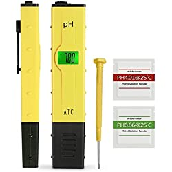 OCMCMO Medidor Ph Agua Preciso Preciva Medidor PH Digital Profesional con Pantalla LCD Retroiluminada Para Acuario, Piscina de Agua Hidropónica, Laboratorio, Color Amarillo