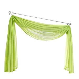 querbehang deko gardinen aus transparentem voile schals h b 500 145cm gr n k che. Black Bedroom Furniture Sets. Home Design Ideas