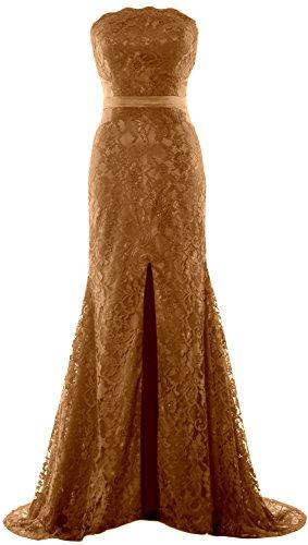 MACloth Women Mermaid Strapless Evening Gown Wedding Party Formal Prom Dress Braun
