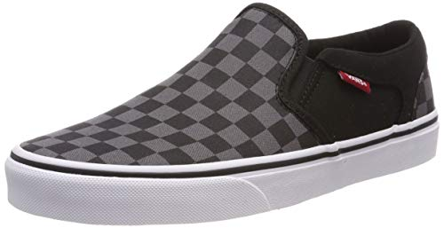 Vans Herren Asher Classic Sneaker, Schwarz ((Checkers) Black/Pewter 8ju), 42 EU (Womens Slipon Vans Schuhe)