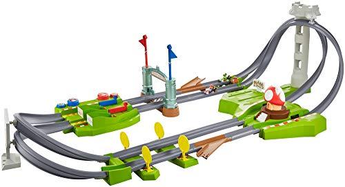 Hot Wheels GCP27 - Mario Kart Mario Rundkurs Rennbahn Trackset Deluxe inkl. 2 Spielzeugautos, Spielzeug ab 5 Jahren