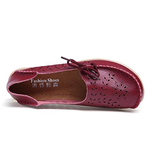AFFINEST Mocassins Femmes Loisirs Creux-dehors Confort Chaussures Plates Loafers en PU Cuir Chaussures de Conduite vin rouge