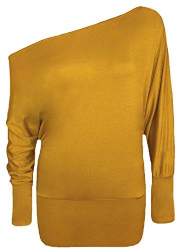 Mischen Sie viele neue Damen trendy aus Schulter baggy Fledermaus Klar Top Frauen-Mode sexy lange Hülse plus Soft-Touch-lässige Kleidung Top Größe 36-50 Senf